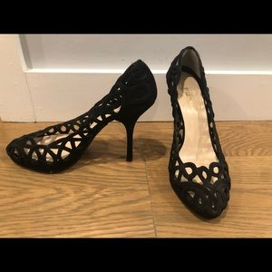 EUC Prada Black Suede Cut-Out High Heels 37.5
